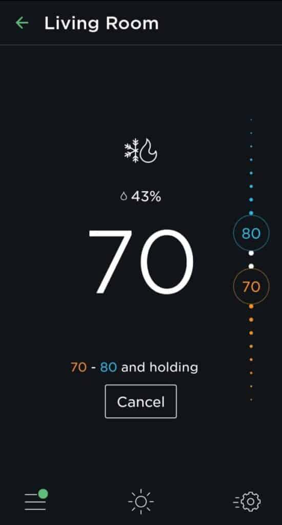 Ecobee App Thermostat Screen