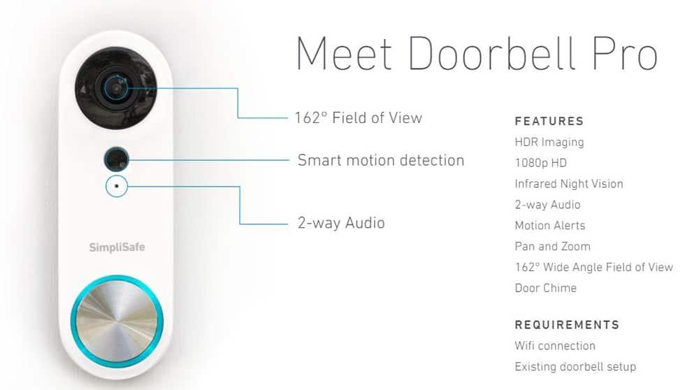 SimpliSafe Video Doorbell Pro Specs